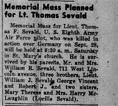 Lt. Sevald Memorial Newspaper Notice
