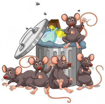 Rats Eating Garbage Cartoon