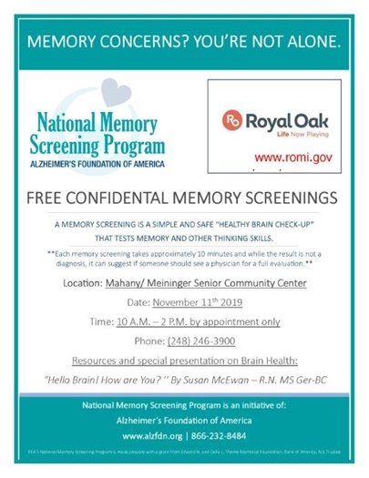 Memory Screening Flyer