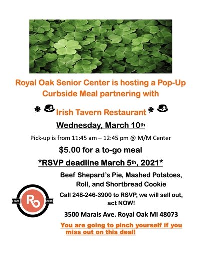 St Pats Day Curbside Meal Flyer