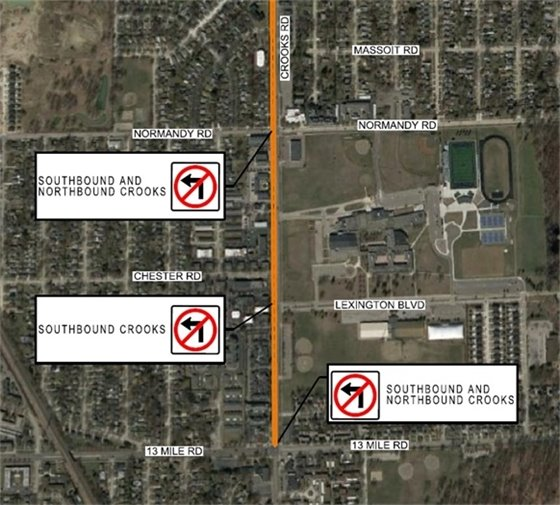 Traffic control plan for Crooks Road