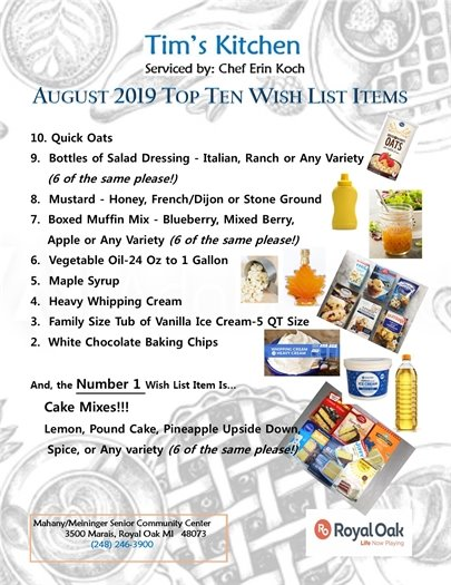 Tim's Kitchen August Top Ten Flyer