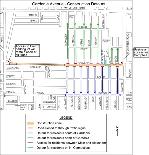 Gardenia Avenue - Construction Detours