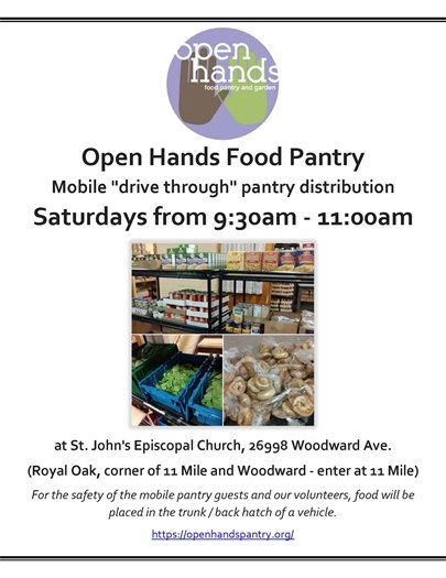 Open Hands Food Pantry Flyer