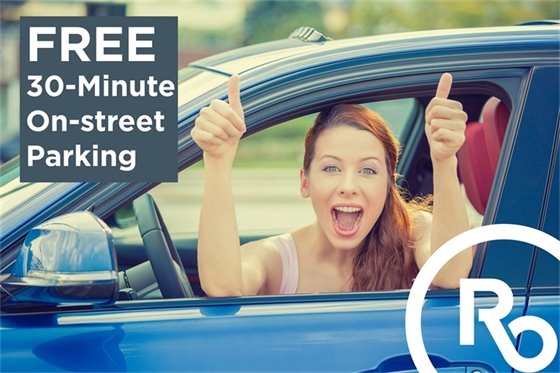 30 Minute Free Parking Advertisement