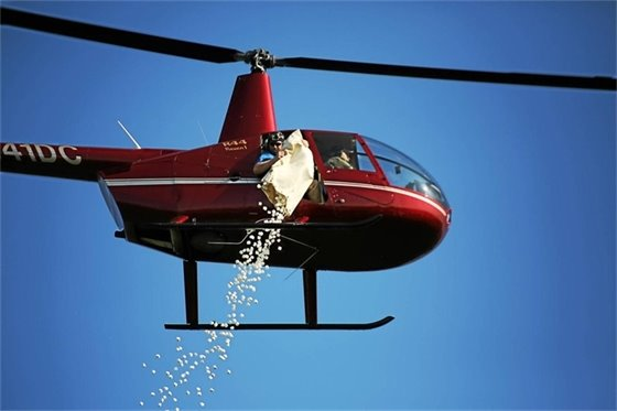Helicopter Dropping Marshmellows