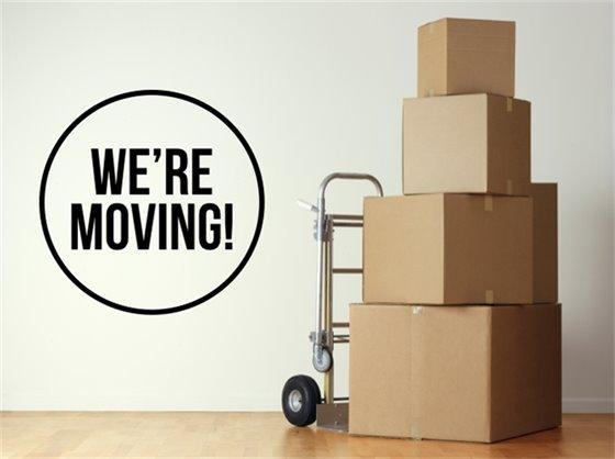 We're Moving Logo