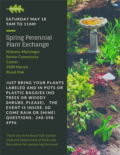 Spring Perennial Plant Exchange Flyer