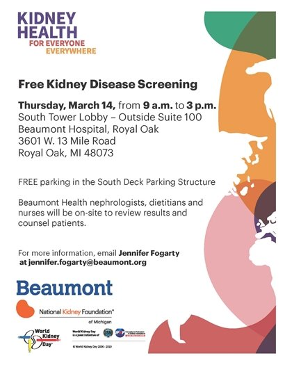 Flyer for Kidney Disease Screening