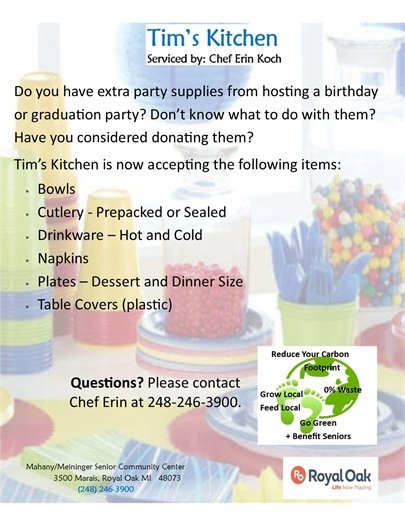 Tim Kitchen's Party Supply Donations Flyer