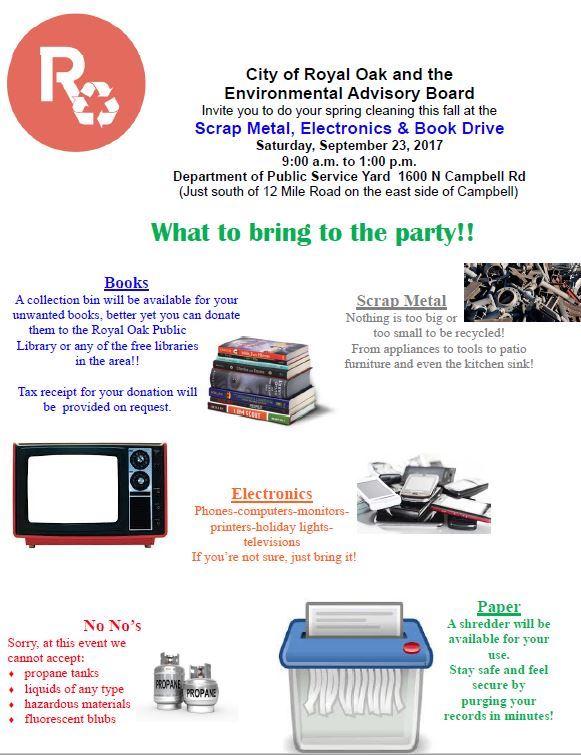 Scrap Metal, Electronics & Book Drive - Royal Oak, MI