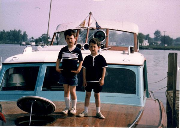 Fittingly, young Bob and Scott Morton on a boat. They were no strangers to the sea.
